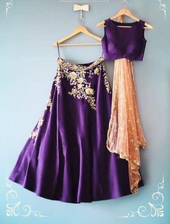 Soft Tapetta Silk Bridal Fancy Pattern Purple Designer Set Lengha Skirt Women/'s Indian Ethnic Wedding Wear Bridal Lehenga Choli