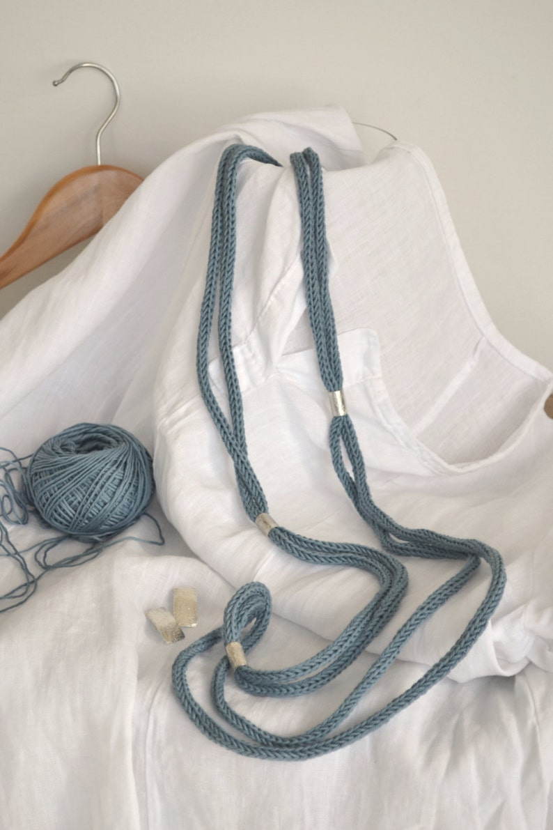 Handmade cotton and silver necklace Light blue-grey cotton also available with different blue shades Long statement cotton necklace