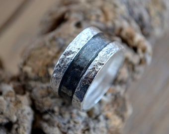 Silver men band with white and oxidized silver bands and rough surface. Silver men ring.