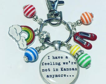 I have a feeling we're not in kansas anymore keyring, wizard of oz, ruby slippers