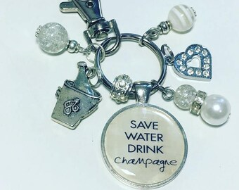 Champagne keyring, Champagne keychain, Save water drink champagne, champagne gift, champagne drinker gift