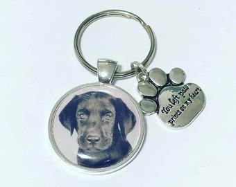 Dog personalised photo keyring, you left paw prints on my heart, loss gift, memorial, cat keyring