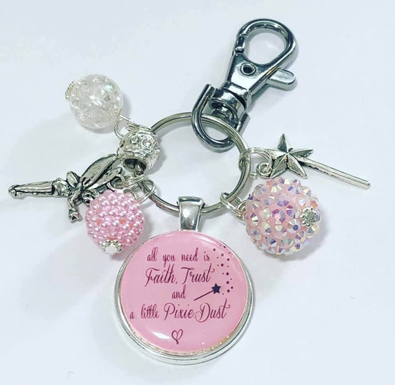 Tinkerbell Fairy Keyring Faith Trust And Pixie Dust Daughter Friend Gift