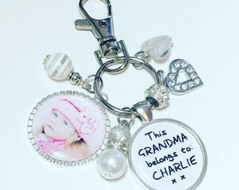 Grandma photo keychain, Grandma photo gift, Gift for Grandma, Grandma photo keyring, This Grandma belongs to, Mothers Day gift