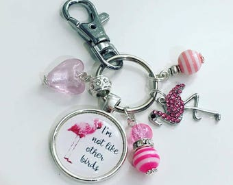 I'm not like other birds keyring, flamingo gift, stand out in the crown, flamboyant gift