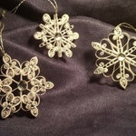 Set of 3 Assorted White Quilled Snowflake Ornaments