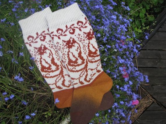 Stricken Sie Socken mit Katze Wolle Socken Gestrickte Socken   Etsy