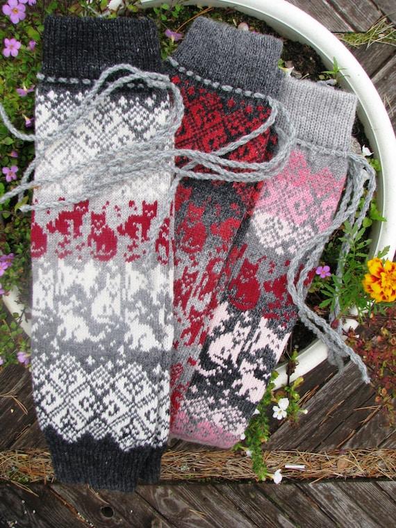 Stulpen mit Katzen stricken Socken wolle Socken Boot