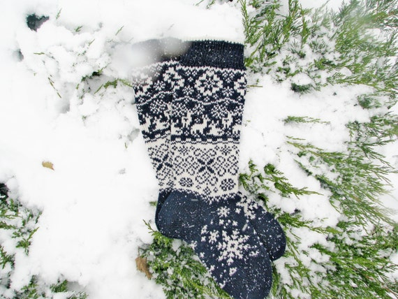 Weihnachten Socken Blau s stricken Socken Socken aus Wolle | Etsy