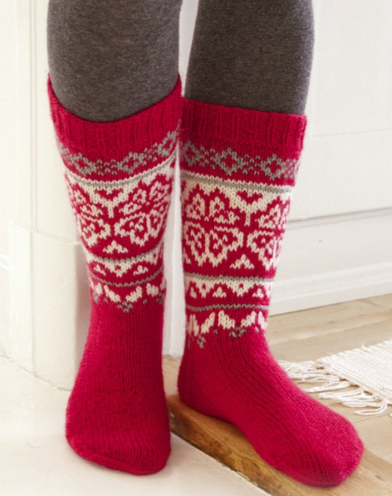 Green with red wool socks with ornaments  Christmas gift ready to ship