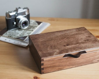 "Wooden photo box with leather handle. Wooden box. Photo box for 15x21 cm (6x8""). Memory box. Wedding photo box."