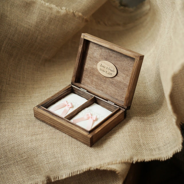 Personalized Wedding Ring Box Rustic Wooden Ring Box Wedding Ring