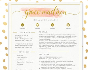 Resume Template CV Template for MS Word | 4 Pack + social media icons | Beautiful Custom Header | Watercolor Resume | Instant Download E