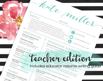 TEACHER Resume Template for MS Word Teal | 1 and 2 Page Resume, Cover Letter, Ref Letter & Educator Resume Writing Guide | Custom Header