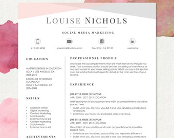 resume template for ms word and pages hello 1 2 page etsy