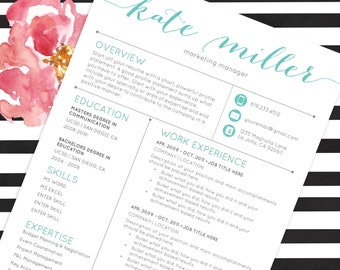 Resume Template CV Template for Word | 4 Pack + social media icons | The Kate Teal | Custom Header | US Letter & A4 | Instant Download