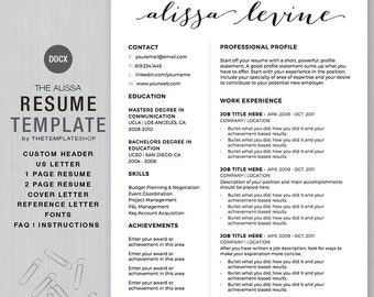 Resume Template and CV Template for MS Word|  Custom Header | 1 and 2 page resume, cover ltr, reference ltr | The Alissa | Instant Download