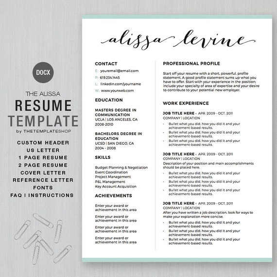 Resume Template And Cv Template For Ms Word Custom Header 1 And 2 Page Resume Cover Ltr Reference Ltr The Alissa Instant Download