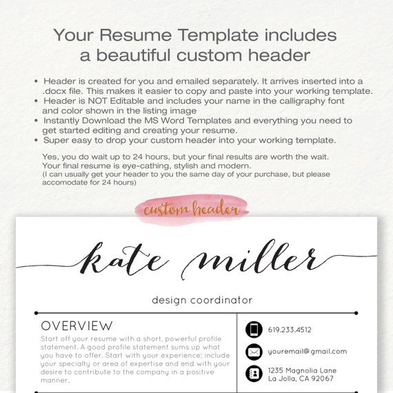 Resume Template Cv Template For Word 4 Pack Social Media Icons The Kate Black Custom Header Us Letter A4 Instant Download