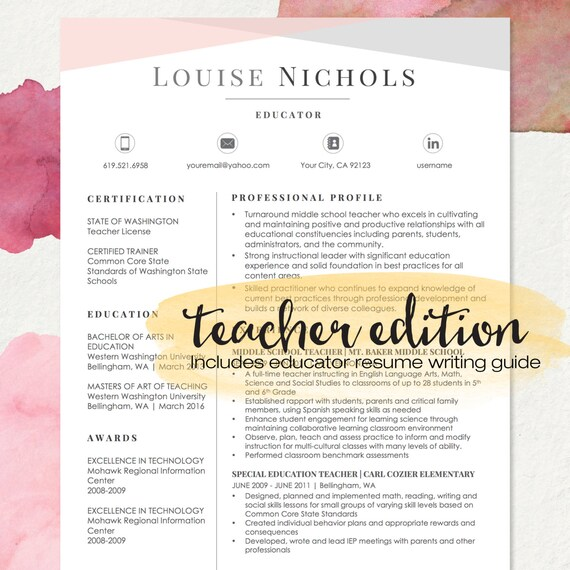 TEACHER Resume Template for MS Word and Apple Pages 1 2 & 3