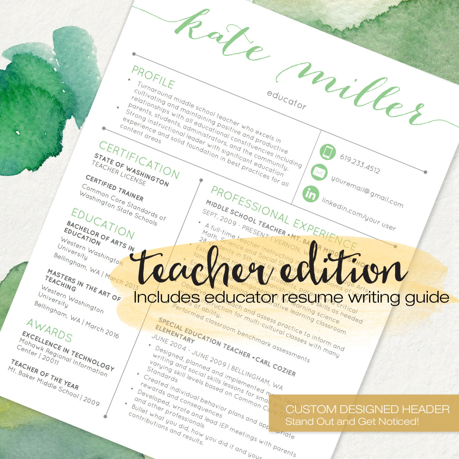 TEACHER Resume Template for MS Word   1 and 2 Page Resume, Cover Letter,  Reference Letter & Educator Resume Writing Guide   Custom Header