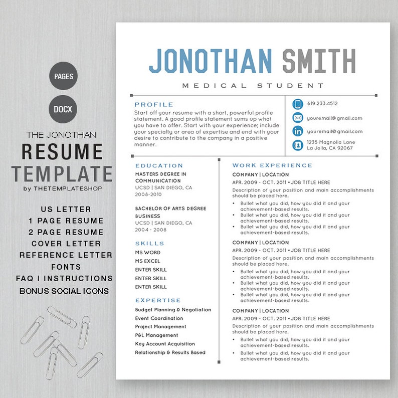 Resume Template Cv Template For Word Printable Social Etsy