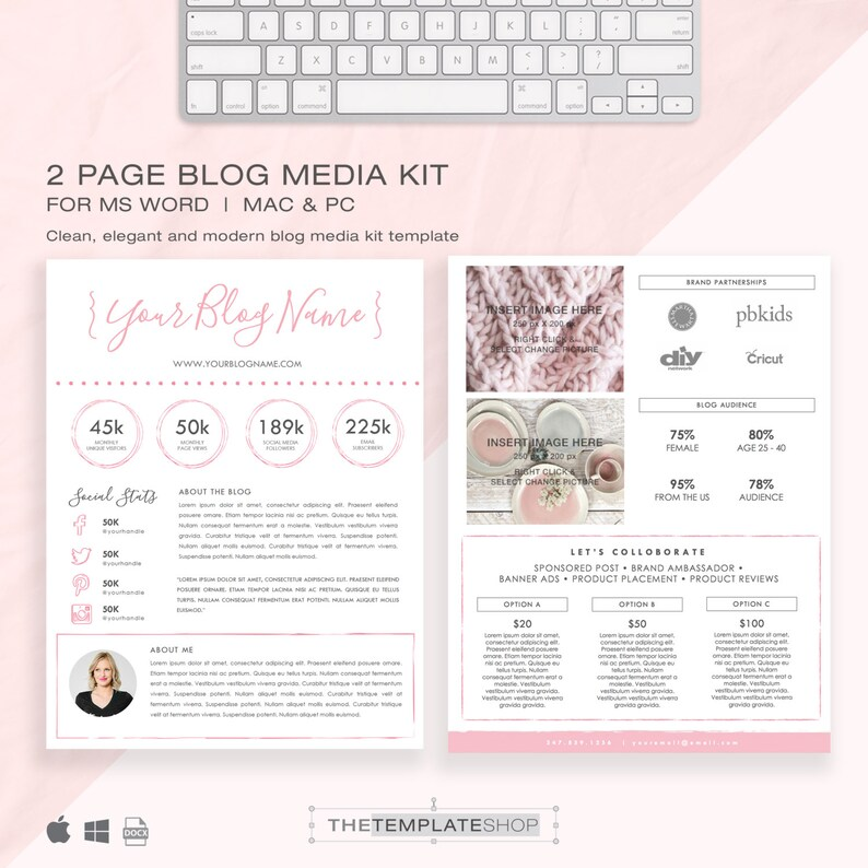 Media Kit Template 2 Page  Blog Media Kit  Press Kit image 0