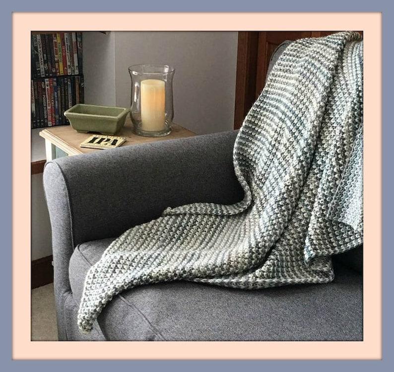Knitting Pattern Blanket Lapghan Easy Bulky Chunky Yarn ...