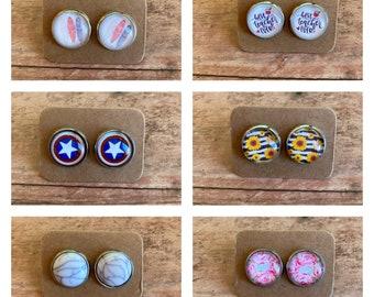 Handmade Sensitive Ears Multicolor Hexagon 12mm Glass Cabochon Stud Earrings