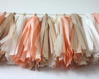 Tissue Paper Garland // Tassels //Peaches n Cream // Peach, Sparkly Champagne, Ivory // Bridal Shower, Baby Shower, Birthday, Wedding