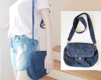 Upcycled jeans bag recycled tote hobo reclaimed bag messenger bohemian denim bag everyday blue bag double straps purse sling thin simple bag