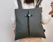 LAST PIECE! Stylish backpack Messenger bag Dark gray waterproof canvas bag Minimal backpack Handmade women bag Chic city bag Gift for her