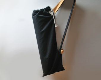Unisex yoga mat bag Pilates mat bag Waterproof Black canvas Yoga tote Sports bag Stylish mat bag Yoga mat carrier bag Zip pocket Unique gift