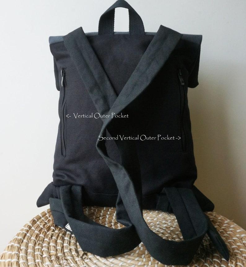 Convertible backpack Messenger bag Black waterproof canvas Soft women bag Minimal college rucksack Stylish city bag Beautiful gift for her