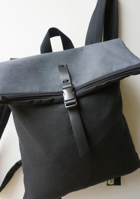 Convertible backpack Messenger bag Black waterproof canvas  eb468c0ef5b82
