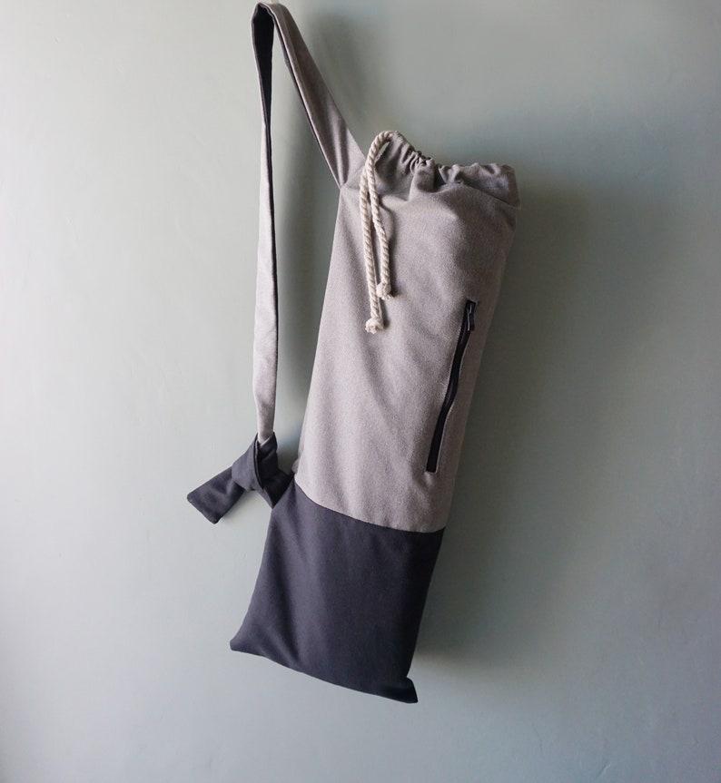 Unisex yoga mat bag Minimalist pilates mat bag Waterproof canvas yoga tote Stylish yoga sling Handmade pocket mat carrier Chic yoga bag Gift