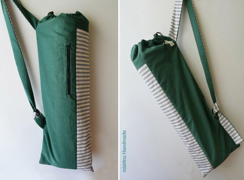 4e48b7fd57f7 YOGA MAT BAG Handmade Unisex Pilates mat bag Green canvas