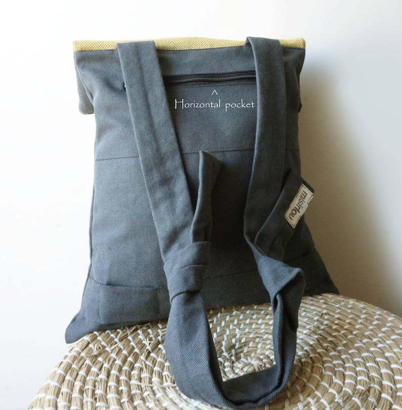Backpack Messenger bag Waterproof gray canvas Leather closure Fashionable bag Handmade women bag Minimalist convertible bag Gift for her