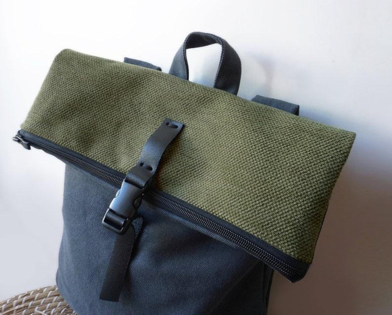 Convertible canvas backpack Messenger bag Khaki bag Leather  33bd069229837