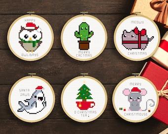 Punny Christmas Ornaments Cross Stitch Patterns   Cross Stitch Christmas Ornamens Patterns   Christmas Puns Cross Stitch Patterns