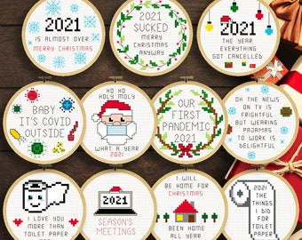 Covid Christmas Ornaments 2021 Cross Stitch Patterns   Covid19 Christmas Ornaments   Corona Christmas   Instant Download **UPDATED**
