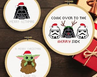 Three Star Wars Christmas Cross Stitch Patterns   Star Wars Christmas Puns Cross Stitch Patterns   Star Wars Cross Stitch Patterns