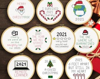 Corona Christmas Ornaments 2021 Cross Stitch Patterns   Covid Christmas Ornaments   Cross Stitch Christmas Ornaments **UPDATED**