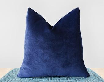 Dark Blue Velvet Pillow Cover Navy Velvet Throw Pillows Midnight Blue Cushion Indigo Pillow Luxury Navy Velvet Lumbar Pillow All Sizes 24x24