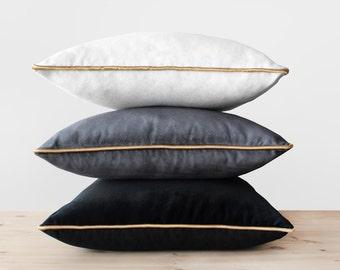 Velvet Pillow Cover with Gold Cording Black White Gray and Gold Pillows Velvet Throw Pillow Trimmed White Velvet Cushion Gray Gold Pillows