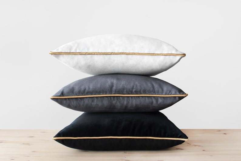 Velvet Pillow Cover with Gold Cording Black White Gray and image 0