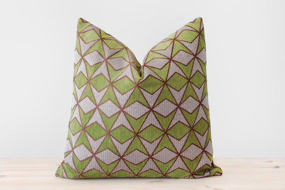 Green Brown Pillow Cover Geometric Cushion Moss Green Pillows Etsy Simple Earth Tone Decorative Pillows