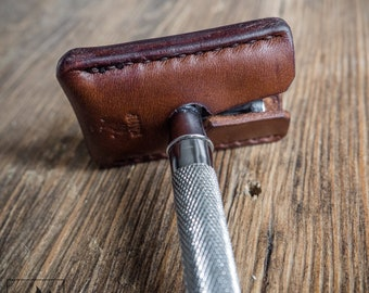 Leather safety razor cover - Razor blade cover - Safety razor sheath