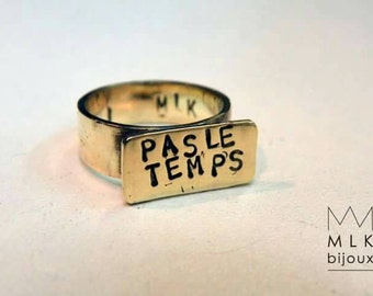 Custom message ring to order, word or first name to measure
