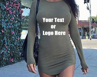 e2b0a5a73b5c Custom Personalized Designed Womens Long Sleeve Soft Lining Bodycon T-shirt  Mini Dress (Glitter Vinyl Personalized)